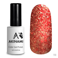 Гель-лак AKINAMI Color Gel Polish тон №118 Red Sparkle
