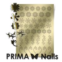 Металлизированные наклейки Prima Nails. Арт. FL-01, Золото