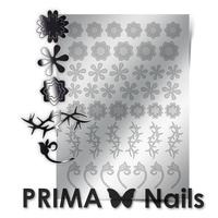 Металлизированные наклейки Prima Nails. Арт. FL-01, Серебро