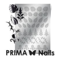 Металлизированные наклейки Prima Nails. Арт. FL-03, Серебро