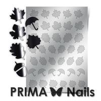 Металлизированные наклейки Prima Nails. Арт. FL-06, Серебро