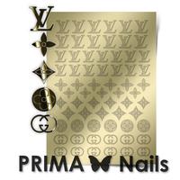 Металлизированные наклейки Prima Nails. Арт. FSH-02, Золото