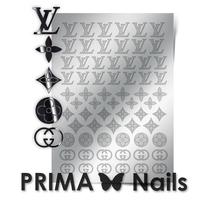 Металлизированные наклейки Prima Nails. Арт. FSH-02, Серебро