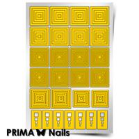 Трафарет для дизайна ногтей PrimaNails. Геометрия. Квадраты