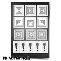 Трафарет для ногтей PrimaNails.NEW SIZE Геометрия. Квадраты