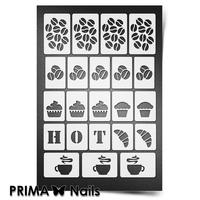 Трафарет для ногтей PrimaNails.NEW SIZE Кофейня