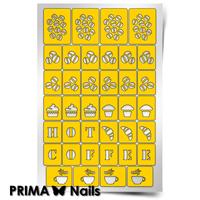 Трафарет для дизайна ногтей PrimaNails. Кофейня