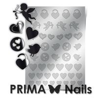 Металлизированные наклейки Prima Nails. Арт. LV-02, Серебро