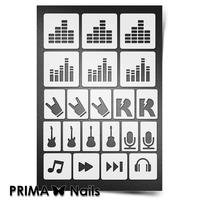 Трафарет для ногтей PrimaNails.NEW SIZE Музыка