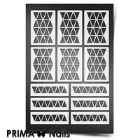 Трафарет для ногтей PrimaNails.NEW SIZE Орнамент Треугольники