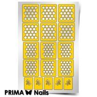 Трафарет для дизайна ногтей PrimaNails. Пчелиные соты. New