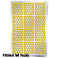 Трафарет для дизайна ногтей PrimaNails. Принт «Пчелиные соты»