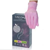 Перчатки BENOVY Nitrile MultiColor (блок)  РОЗОВЫЕ - L