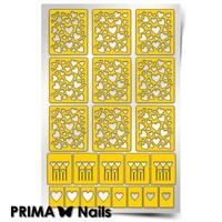 Трафарет для дизайна ногтей PrimaNails. Сердца 1 New