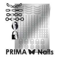 Металлизированные наклейки Prima Nails. Арт. UZ-01, Серебро