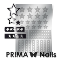 Металлизированные наклейки Prima Nails. Арт. UZ-02, Серебро