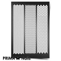 Трафарет для ногтей PrimaNails.NEW SIZE Зигзаги